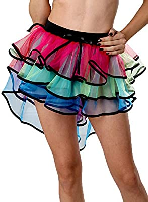 Kobwa(TM) Women Colorful Mesh Layered Performance Bubble Tutu Skirts with Kobwa's Keyring