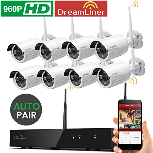 Dream-Liner-WiFi-Booster-xmartO-WOS1388-8-Channel-960p-HD-Wireless-Security-Camera-System-with-8-HD-Outdoor-Wireless-IP-Cameras-Auto-Pair-Built-in-Router-13MP-Camera-No-HDD