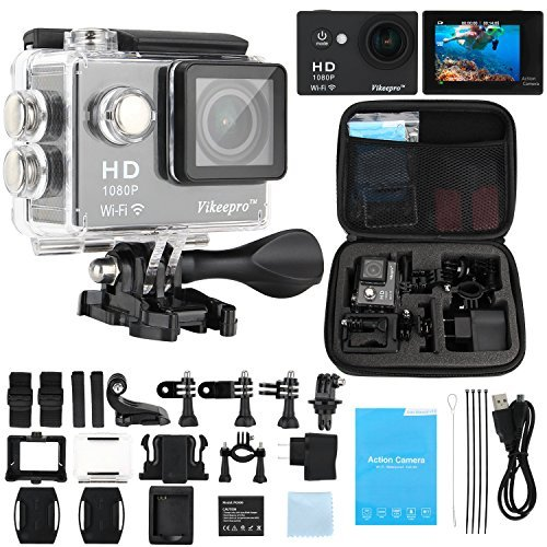Vikeepro-Action-Camera-20-Inch-Full-HD-1080p-30fps-Sports-Camera-With-170-Degree-Ultra-wide-Angle-Lens-Wi-Fi-Wrist-24G-2-Batteries-and-Free-Accessories-Kit-Black