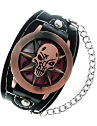 Horror Skull Lid Black Leather Strap With Chain Wrist Watch For Boys (HOR0673)