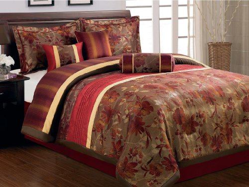 Beautiful  Piece Queen Size Comforter Set Weaved Flower Burgundy Brown Gold Bed In A Bag