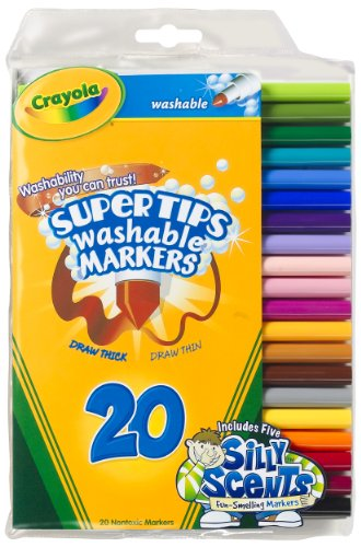 Crayola 20ct Washable Super Tips (5 Fun-Scented Markers Included)