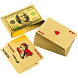 Llf Waterproof Deck Of 24 K Gold Foil Playing Cards $100 Benjamin Franklin Logo Design Tablet Games Pokers Color...