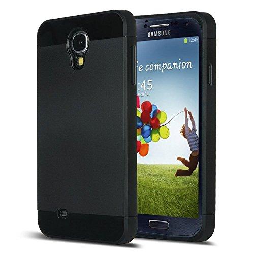 Galaxy S4 Case, S4 Case - ULAK Hybrid Slim Hard Back Case Cover Rubber Bumper 2in1 Rigid Plastic Shell + TPU Daul Layer w/ Card Storage for Samsung Galaxy S4 I9500 (Black/Black) (S4 Bumper Case compare prices)