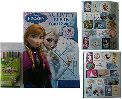 Disney Deluxe Frozen Word Search Book Set - Includes Stickers and Twist-Up Crayons - 1