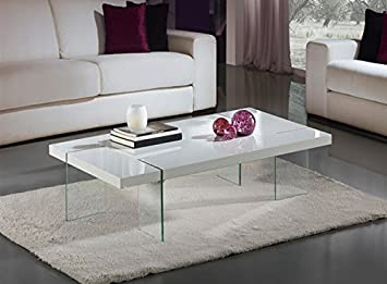 Mesa MAGGIE-120,baja, cristal, lacada blanca 120x70 cms