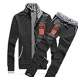 (モノア) Monoa プリント デザイン が かっこいい スポーツ スウェット パンツ 上下セット メンズ カジュアル スエット ダンス ウエア 部屋着 ジャージ 長袖 (5 カラー ) 半袖 (4 カラー ) 長袖 XXL ダークグレー