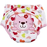 1pc Baby Girl Boy Pee Potty Training Pants Washable Cloth Diaper Nappy Underwear (XL(fit for 18-32momths), Cute cat)
