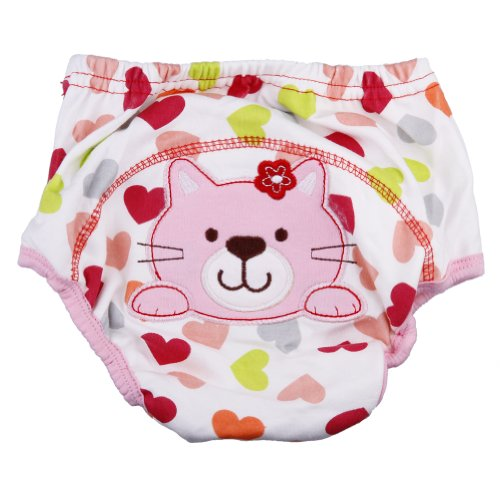 1pc Baby Girl Boy Pee Potty Training Pants Washable Cloth Diaper Nappy Underwear (L(fit for 12-24momths), Cute cat)