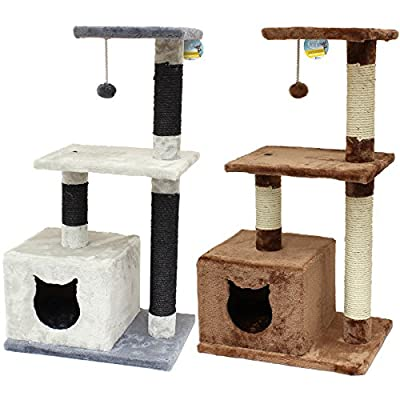 Me & My 3 Level Cat Tree with Box & Spring Toy