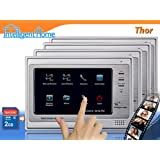 """Video Door Entry Phone Intercom 7"""" Touch Screen Monitors Image Recorder Quad System (2 wire)by Intelligent Home"""