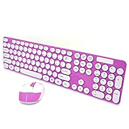 SROCKER Ultra Thin 2.4GHz Wireless Silent Click Keyboard and Mouse Combo Chocolate Keys with Nano USB Receiver for Windows 2000, Windows XP, Windows Vista, Windows 7, Windows 8, PC, Laptop (Pink)