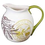 Vintage Style Off-White Ceramic Italian Olive Oil Design Decorative Tabletop Beverage Pitcher - MyGift®