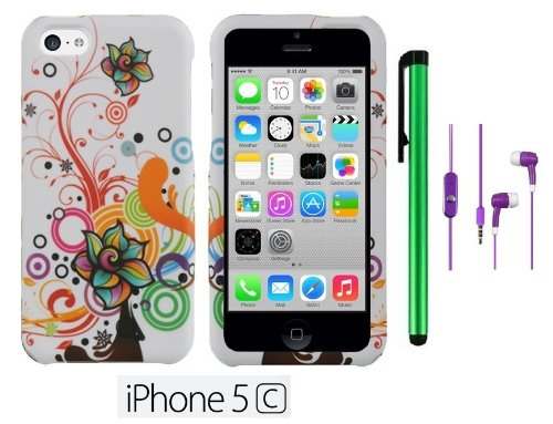 Apple Iphone 5C (For The Colorful) Accessory - Premium Vivid Design Protector Hard Cover Case + 3.5Mm Stereo Earphones + 1 Of New Metal Stylus Touch Screen Pen (Pearl White Autumn Flower Swirl)