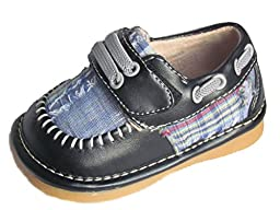 Squeaky Shoes Toddler Boys Leather Black Plaid Shoes 3 M US
