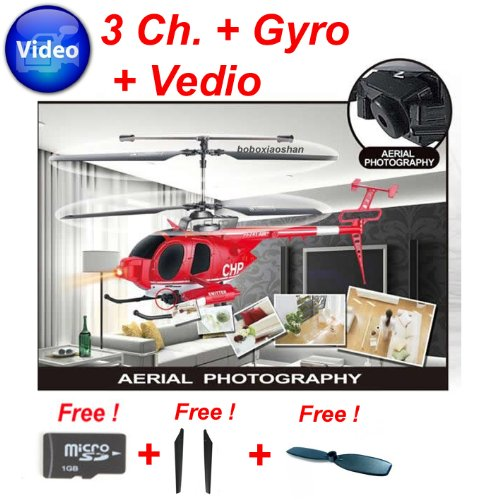 Camera RC helicopter 3 ch. Gyro with recording function ! 1 GB SD card FREE !