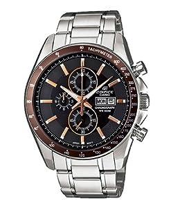 Casio Men's Edifice EFR502D-5AV Silver Stainless-Steel Quartz Watch with Black Dial