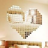 Wuiyepo 100 pièces d'argent de mode DIY 3D autocollant de mur de mosaïque de miroir amovible Salon Décoration...
