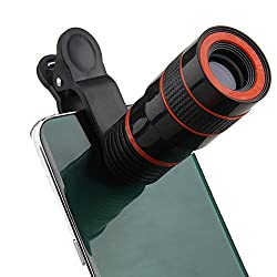 DMG 8X Zoom Magnifier Optical Telescope Mobile Phone Camera Lens with Universal Phone Holder (Black)