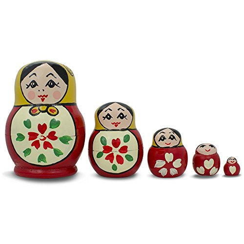 "3.5"" Set of 5 Semenov Classic Wooden Russian Nesting Dolls Matryoshka"