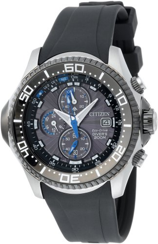 Citizen Men's Eco-Drive Depth Meter Chronograph Metric Rubber Dive Watch #BJ2117-01E