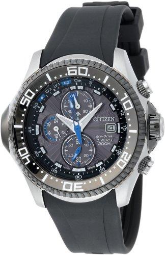 Citizen Men's BJ2117-01E Eco-Drive Depth Meter Chronograph Metric Rubber Dive Watch