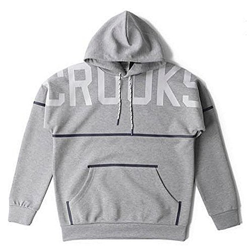 Crooks and Castles Men's Knit Rocket Pullover Hoodie Heather Gray L