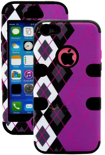 Mylife (Tm) Black + Black Argyle Plaid 3 Layer (Hybrid Flex Gel) Grip Case For New Apple Iphone 5C Touch Phone (External 2 Piece Full Body Defender Armor Rubberized Shell + Internal Gel Fit Silicone Flex Protector + Lifetime Waranty + Sealed Inside Mylife