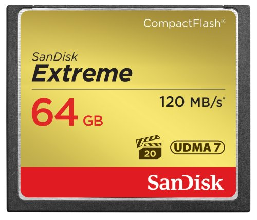 SanDisk Extreme 64GB Compact Flash Memory Card UDMA 7 Speed Up To 120MB/s, Frustration-Free Packaging- SDCFXS-064G-AFFP (Label May Change)
