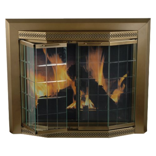 Pleasant Hearth GR-7202 Grandoir Fireplace Glass Door, Antique Brass, Large (Fireplace Glass Doors Brass compare prices)