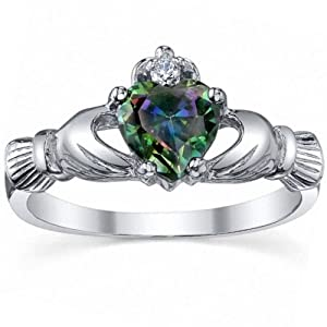 Eris: 0.765ct Heart cut Mystic Topaz Promise Friendship Engagement Dublin Claddagh Ring, Wedding Ring, 3185-A sz 7.0, 925 Sterling Silver by 1000 Jewels