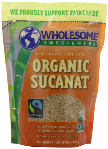 Wholesome Sweeteners Fair Trade Organic Sucanat (Brown Sugar), 16-Ounce Pouches (Pack of 12)