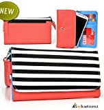 Universal Bicast Leather Womens Phone Wallet Wrist-let Clutch fits Samsung Galaxy S5 Case - Stripes Coral Pink.