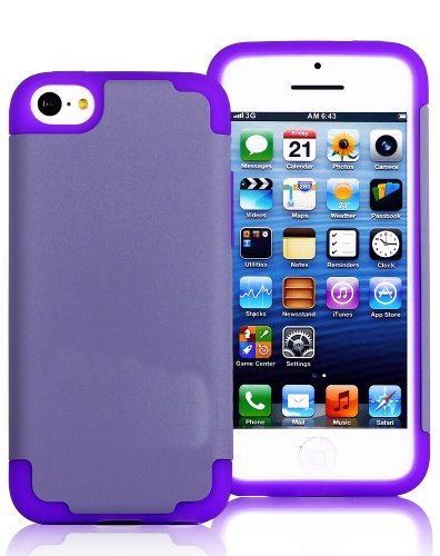Mylife (Tm) Gray + Purple Style 2 Layer (Hybrid Flex Gel) Grip Case For New Apple Iphone 5C Touch Phone (External Single Piece Full Body Defender Armor Rubberized Shell + Internal Gel Fit Silicone Flex Protector + Lifetime Waranty + Sealed Inside Mylife A