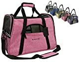 Mr. Peanut's Airline Approved Soft Sided Pet Carrier, Two-Tone Luxury Travel Tote with Fleece Bedding, New Design, Under Seat Collapsibility, Perfect for Cats and Small Dogs (Raspberry Red)