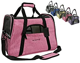 Mr. Peanut\'s Airline Approved Soft Sided Pet Carrier, Two-Tone Luxury Travel Tote with Fleece Bedding, New Design, Under Seat Collapsibility, Perfect for Cats and Small Dogs (Raspberry Red)