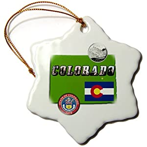 3dRose orn_55384_1 State Map, Picture Text, Seal, Flag and Quarter of Colorado-Snowflake Ornament, Porcelain, 3-Inch