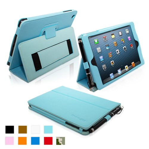 Snugg Baby Blue iPad Mini Leather Case Cover for Girls Hand Strap and Stylus Holder