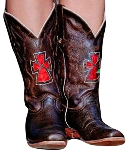 Dusty Rocker Western Boots Womens Durango Cross Square Cognac DRW2013
