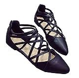 (PlaisteL) レディース パンプス 履きやすい レースアップ クロス ストラップ ローヒール 楽 靴 ファスナー (ブラック 24cm)