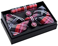 "Elegant Tartan Plaid Check Woven Pre-tied Bow Tie (5"") w/ Pocket Square & Cufflinks Gift Set"