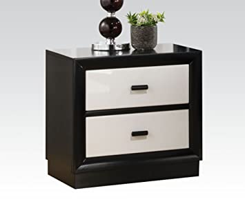 Debora Two Drawer Nightstand in Black/White by Acme Furniture