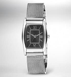 Square Face Tonneau Mesh Strap Watch
