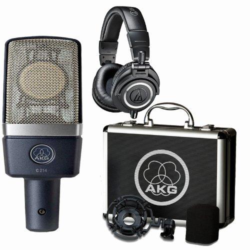 Akg C214 Condenser Microphone W Audio-Technica Ath-M50X Headphones Bundle