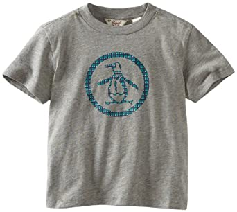 Original Penguin Boys 2-7 Plaid Printed Logo Tee, Rain Heather, 2T
