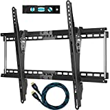 "Cheetah Mounts APTMM2B TV Wall Mount for 32-65"" TVs (Many from 20-75"") Specifically fits up to VESA 600X400, 165lbs, and both 16 and 24 in studs, with a Flush 1.5"" Profile and includes a Twisted Veins 10' Braided HDMI Cable and a 6 Inch, 3-Axis Magnetic Bubble Level"