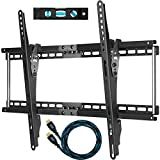 "Cheetah Mounts APTMM2B Flush Tilt (1.3"" Profile) TV Wall Mount Bracket for 32-65 inch (80-165 cm) LED, LCD and Plasma Flat Screen TVs Up To VESA 684x400 and 165lbs(75kg), Including a Twisted Veins 10' (3m) Braided High Speed with Ethernet HDMI Cable and a 6"" 3-Axis Magnetic Bubble Level"