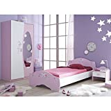 Kinderzimmer 3-teilig rosa weiß Bett Nachtkommode Kleiderschrank Kinderbett Nako Nachtschrank