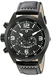 Swiss Legend Men's 10020-BB-01 Highlander Black Ion-Plated Stainless Steel Watch with Black Leather Band