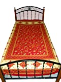 Indian Bedding Red Floral Print Cotton Bedspreads Twin Sofa Throws Bedlinen ....